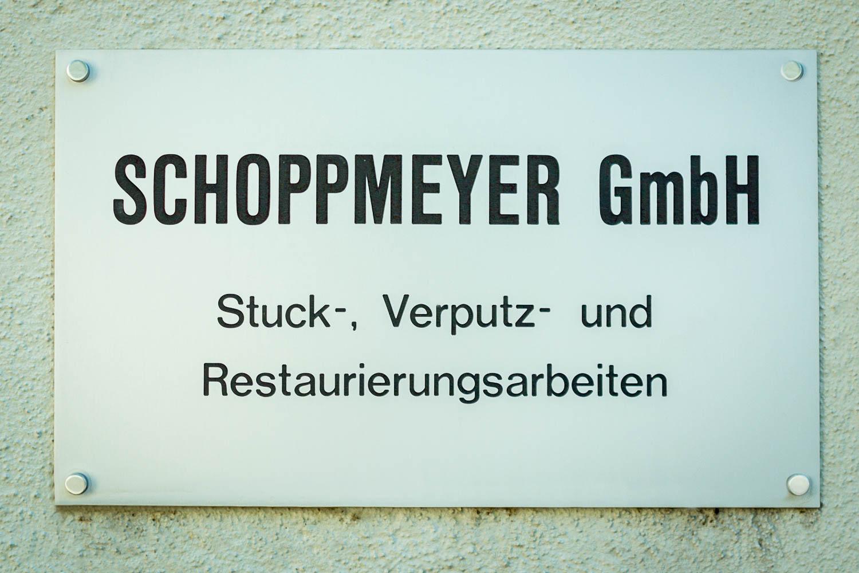 Firmenschild Schoppmeyer GmbH - bei der Schleifmühle 28, Ingolstadt